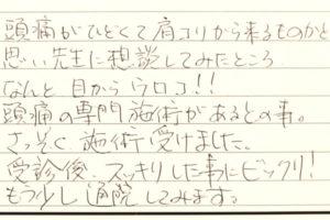 西尾市 頭痛 ピョンちゃん 女性 30代